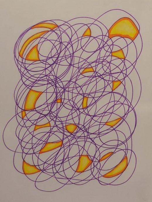 gribouilli, scribble, feutre, violet, feu, crayons, pastel