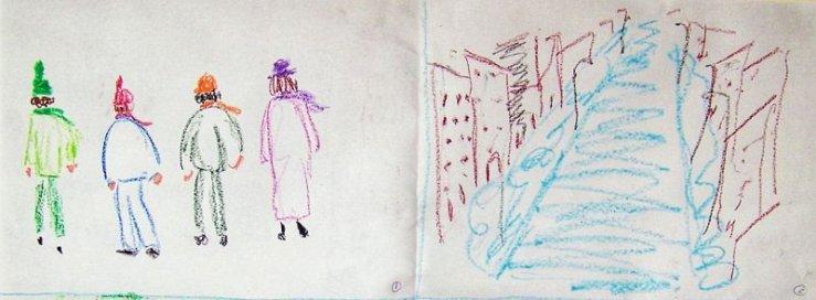 Personnages de dos en manteaux d'hiver, rue enneigée